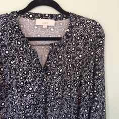 Loft printed blue white blouse This classic button down blouse looks good tucked in or out with jeans or dress pants. Tab top, loosefitting waist. LOFT Tops Blouses