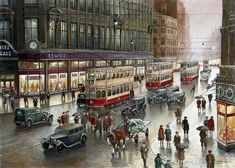 Lewis's, Market St, by Steven Scholes. Manchester Art, Rain Art, Building Art, Belle Epoque, Stevia, Great Photos, Old Houses, Liverpool, Illustration Art