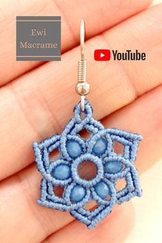 Macrame Earrings Tutorial, Micro Macrame Tutorial, Earring Tutorial, Crochet Earrings, Macrame Colar, Macrame Knots, Beaded Jewelry Patterns, Macrame Patterns, Jewelry Crafts