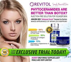 Click Here: http://beautyhealth4menwomen.com/RevitolPhytoceramides.php  |  Clinically studies prove that the Revitol Phytoceramides Solution ingredients begin working instantly and combine to strategically target wrinkles. For more information: http://beautyhealth4menwomen.com/RevitolPhytoceramides.php