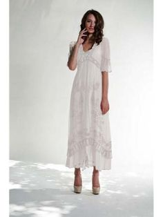 Nataya Vintage Inspired Ivory Victorian Embroidered Tulle Empire Dress