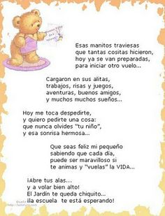 Poemas De Bienvenida a Kinder - Saferbrowser Yahoo Image Search Results Graduation Songs, Preschool Graduation, Graduation Celebration, School Hacks, School Projects, Spanish Words, Bilingual Education, Spanish Classroom, Teaching Activities