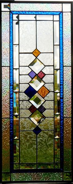 glass panels Stained Glass Window Panel, Retro II, Custom-made-to-Order Stained Glass Door, Stained Glass Designs, Stained Glass Projects, Stained Glass Patterns, Leaded Glass, Window Glass, Modern Stained Glass Panels, Stained Glass Window Hangings, Traditional Stained Glass Panels