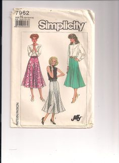 1987 Simplicity 7962 FACTORY FOLDED Misses Skirt in by Pinkalink, $7.50