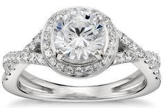 Petite Pavé Diamond Engagement Ring in Platinum by Blue Nile