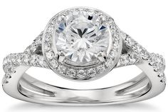 Petite Pavé Diamond Engagement Ring in Platinum by Blue Nile