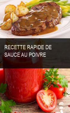 Recette rapide de sauce au poivre #Sauce #Recette #Rapide Baked Potato, Steak, Bbq, Cooking Recipes, Potatoes, Restaurant, Baking, Sauces, Hamburger Recipes