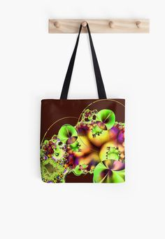 A bright and colourful fractal image that looks like Hibiscus flowers with decorative sprays, flourishes and curved lines.  You may see something else.  This is the green version with a maroon background. • Also buy this artwork on bags, apparel, phone cases, and more.