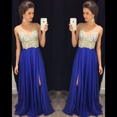 Side Royal blue split Prom Dresses blue chiffon beads Dresses for Prom Dress by lass, $175.00 USD