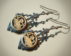 Antique Victorian Brass Picture Button Earrings, Matte Black Tone