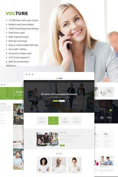 Volture - Multipurpose Business and Corporate PSD Template. Volture clean and modern PSD Business Consulting Template can be used to create any type of Layer Style, Business Website, Clean Design, Psd Templates, Free Design, Photoshop