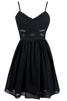 Mesh Together A-Line Dress in Dark Navy www.lilyboutique.com