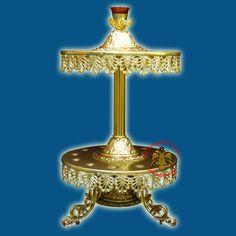 Orthodox Aluminum Round Candle Holder for 13 Church Lambadas Greek Wedding, Irish Wedding, Orthodox Wedding, Church Candles, Wedding Unity Candles, Byzantine Art, Religious Icons, Candle Holders, Traditional