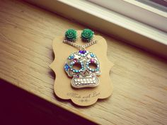 Day of the Dead Sugar Skull Necklace and Filigree by AbbiesAnchor