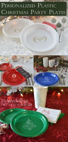 Reduce cleanup time and spend more time relaxing with family and friends this Christmas with durable dispolsable plastic party and dinner plates personalized with your choice of fun holiday design and up to 4 lines of custom print. Christmas plates are available in your choice of size for appetizers, salads, dinner, desserts and Christmas cookie gift plates. These plates can be ordered at http://myweddingreceptionideas.com/personalized_plastic_christmas_plates.asp