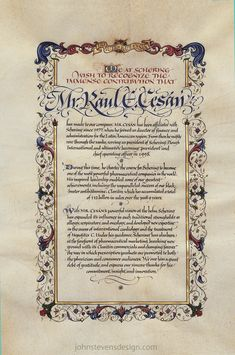 Vellum, Illuminated Page For RX President