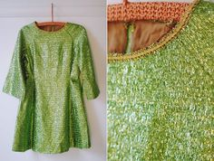 vintage 1960's green tinsel sparkle holiday by FancyFineVintage, $128.00