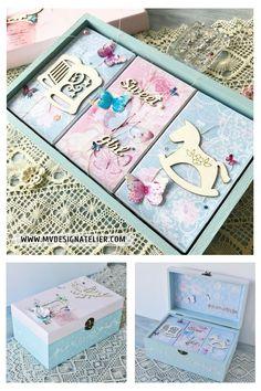 Extra Large Personalised Baby Keepsake Box,Memory Box.Pink or Blue Christening
