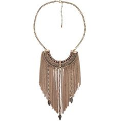 Festive Statement Necklace - Gold/Copper 20-25 ($9.97) ❤ liked on Polyvore featuring jewelry, necklaces, boho, copper necklace, feather necklace, fringe necklace, gold necklace and statement bib necklace