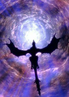 Dragon, flying, shadow, moonlight, starry sky, night; Dragons