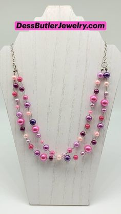 Pearl Jewelry, Beaded Jewelry, Pearl Necklace, Silver Jewelry, Beaded Necklace, Necklaces, Beading Projects, Diy Projects, Purple