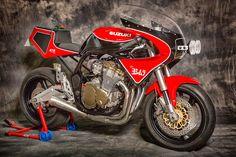 Suzuka by XTR Pepo. Suzuki Bikes, Suzuki Cafe Racer, Suzuki Cars, Suzuki Motorcycle, Cafe Racer Build, Cafe Racers, Suzuki Gsx, Bike Bmw, Cafe Bike