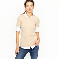 I've always loved this look: short sleeve shirt with white crisp shirt underneath.