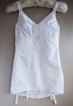 Authentic vintage instant slimming white nylon and elastane firm control open bottom corselette foundation garment . Girdles, Corsets, Shapewear, Touring, 1980s, Foundation, Stage, Camisole Top, Stockings