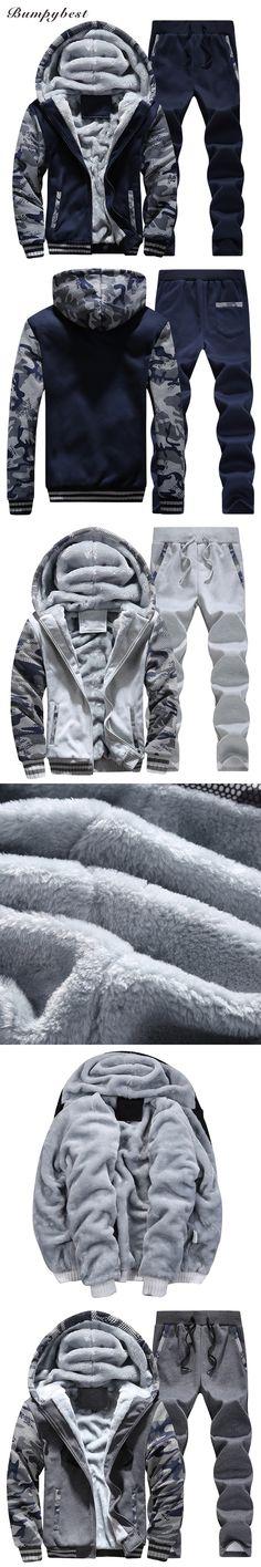 Bumpybeast Men's Sportswear 2017 Winter Fashion Brand Tops+Pants Sets Casual Slim Fit, Velvet Warm High-Quality Male Clothing
