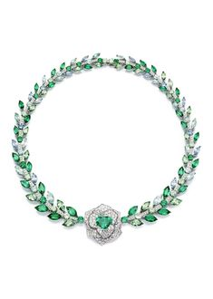 Piaget #Rose Passion #necklace in white #gold set with #diamonds, #emeralds, tourmalines, green garnets and aquamarines.