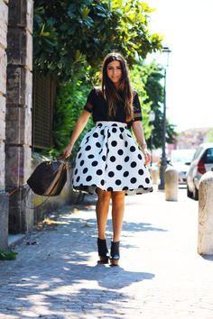 Black & white polka dot skirt with black blouse