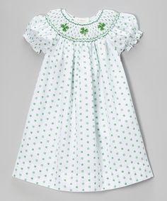 Another great find on #zulily! White & Green Shamrock Bishop Dress - Toddler & Girls by Rosalina #zulilyfinds