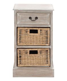 Distressed Wood Basket 2-Drawer Chest