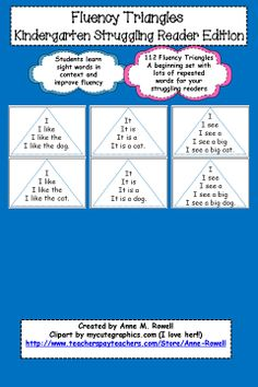 Fluency triangles for struggling readers. Simple 4 to 5 word sentences that include many repeated words.