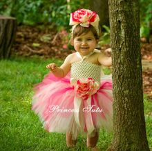 Hot Pink and Ivory Baby Tutu Dress Infant Newborn Baby Flower dress with Headband Baby Christmas Tutu Outfit Size NB-2T(China (Mainland))