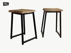 taburete bajo Ayah de moix. (30x30x45 cm): asiento de madera de haya y pies de cuadradillo de hierro pintado. 50€