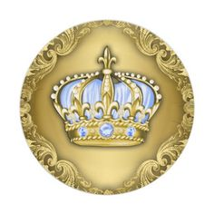 Baby Blue Crown Royal Baby Shower Paper Plate