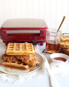 Thyme Fried Chicken & Waffles with Honey