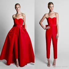 606629549b6 Krikor Jabotian Red Jumpsuits Celebrity Evening Dresses With Detachable  Skirt Sweetheart Strapless Satin Guest Dress Prom Party Gowns Classy Evening  Dresses ...