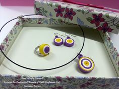 Handmade Quilling Paper Jewelry - Purple Lollipops.  Sets come with ring, earrings & a pendant.