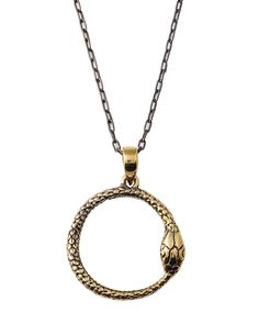Snake Pendant Brass with 64 cm Chain - Oroborus is an ancient alchemical, mystical symbol of eternity representing cylces repeating and life through transformation. Beautiful hand made snake pendant i