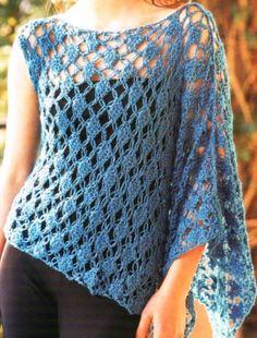 Patrones para Crochet: Capa con solo una manga murcielago Patron