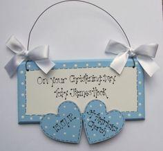 2 Hearts Christening Plaque, £12.00