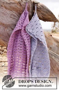 Hæklede DROPS håndklæder i Muskat