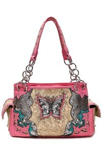 Western Cowgirl Butterfly And Embo Satchel Bag