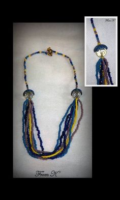 Beaded Necklaces, Tassel Necklace, Shades Of Blue, Albums, Polymer Clay, Facebook, Crystals, Detail, Yellow