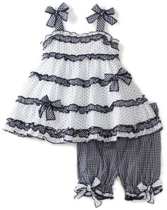 Kate Mack Baby-girls Infant Picnic Sail Top And Bloomer Set Baby Girl Party Dresses, Toddler Girl Dresses, Toddler Outfits, Kids Outfits, Girls Dresses, Baby Dress Design, Baby Girl Dress Patterns, Kids Frocks Design, Stylish Dress Designs