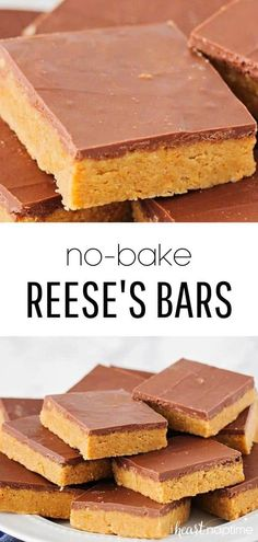 These no bake peanut butter bars are out of this world! They only take 10 minutes to make and taste like a homemade reese's bar! You'll love how easy they are to make. bake Desserts Reese's No Bake Peanut Butter Bars - I Heart Naptime Mini Desserts, Easy No Bake Desserts, Chocolate Desserts, Delicious Desserts, Yummy Food, Easy No Bake Recipes, Easy Dessert Recipies, Recipes For Desserts, Reese's Recipes