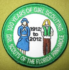 Girl Scout of the Florida Panhandle 100th Anniversary patch.  100 Years of Girl Scouting. Thank you, Michelle!