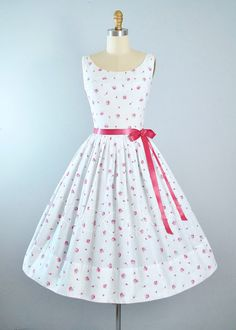 Vintage 50s ROSE Print Dress / 1950s White by GeronimoVintage